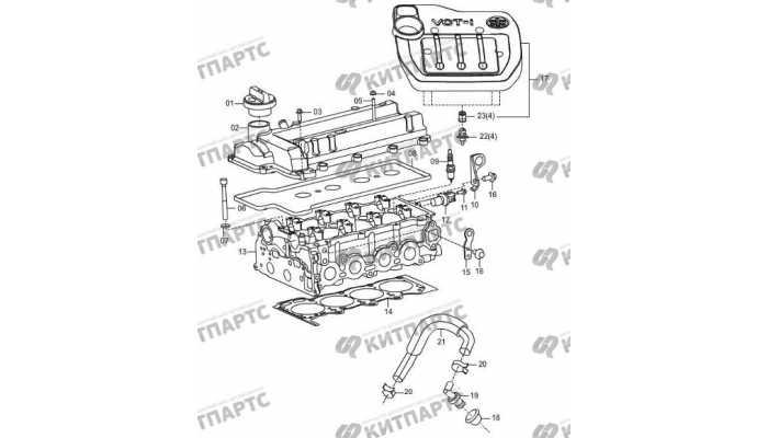 Клапанная крышка и декоративная крышка двигателя FAW Oley